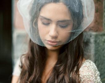 Silk tulle birdcage wedding veil with topaz stones, rhinestone birdcage veil, silk birdcage veil, birdcage veil, Style V26