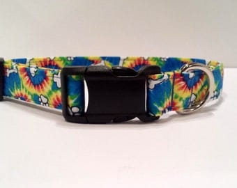 Tie Dye Dog Collar Colorful rainbow cotton puppy Paw Print & Bone Fabric Adjustable  XL L M S or XS Mini Small Extra Large Personalized