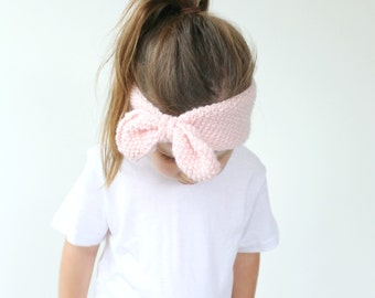 Knitted Bow Ear Warmer Pattern - PDF Knitting Pattern, The Tahlia Warmer, Baby, Toddler, Child & Adult (womens) Sizes, Girls Gift Idea