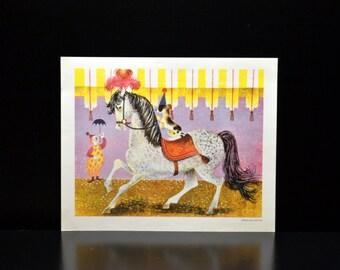 Vintage Circus Dog Riding a Horse Children's Print, Penn Prints 1958 New York