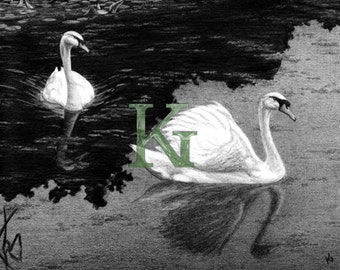 """KG Cards """"Swans"""" Greeting Card"""