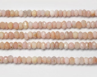 Pink opal faceted saucers 4mm 13.5 inch strand