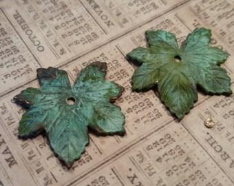 verdigris brass leaf charms 4 pc