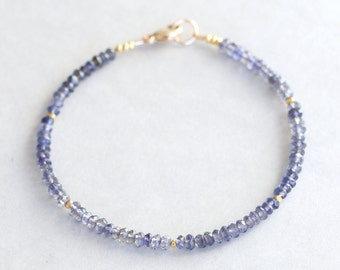 Iolite Bracelet With Karen Hill Tribe Beads - Gemstone Bracelet - Stackable Bracelet -Beaded Bracelet - 24K Gold Vermeil Beads