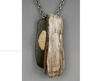 Beach Jewelry: Driftwood and Beach Stone Pendant, Great Lake Ontario Necklace,  'Following Sea' by Deborah Smith