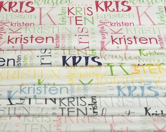 Custom Name Printed Fabric by the Yard ORGANIC KNIT - Discounts on multiple yards