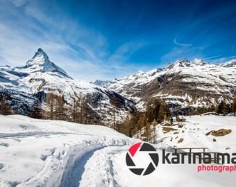 Mountain Scenery, Matterhorn, Snowy Mountain Photograph, Switzerland, Zermatt, landscape, print, wall art