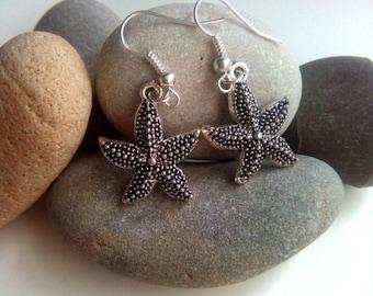 Silver Starfish Earrings, Charm Earrings, Dangle Earrings, Beach Jewelry, Cute Earrings, Sterling Silver Earrings, Nautical Jewellery