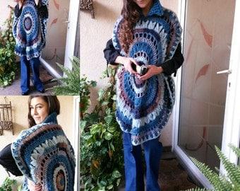 Women Poncho/Handmade Poncho Mandala /Wool Poncho /Plus Size Poncho-make thiner
