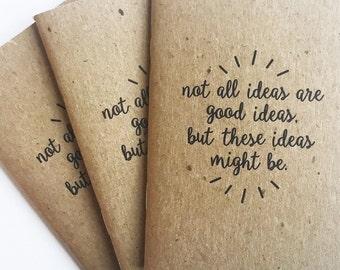 Good Ideas | Pocket Journal | Notebook | Tiny Notebook | Kraft Cover