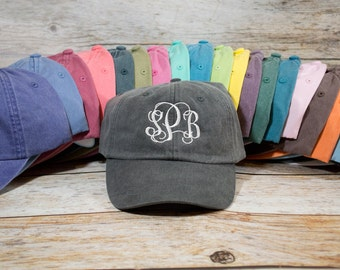 Monogram Hat, Custom Embroidered Monogram Hat, Embroidered Hat, Summer Hat, Personalized Hat, Custom Hat, Monogrammed Hat, Distressed Hat