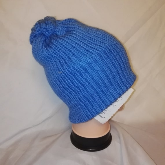 RETRO Blue colour mix Handmade beanie hat double knit extra thick ski snowboard garden one size unisex wool #retro #handmade