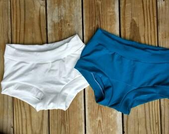 Women's Scrundlewear Boyshorts Underwear - Custom XS S M L XL XXL - White - Organic Cotton Stretch Knit - Bamboo French Bikini Panties Panty