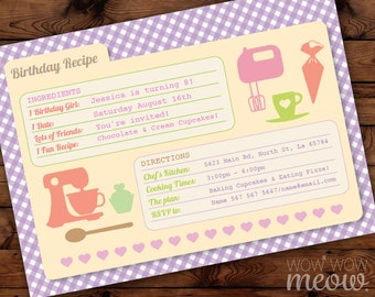 Recipe Card Birthday Party Cookie Bake Invitation INSTANT DOWNLOAD Bakery Pink Cookery Invite Girls Personalize Customize Editable Printable