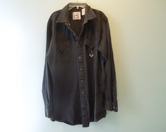 SALE 90s Southwestern Black Jean Button Down
