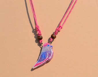 Handmade air dry clay necklace. Hand painted jewelry. Bird painting. Bird necklace.