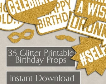 35 Birthday Prop Printable speech bubbles, gold glitter, party props, bday photo booth props, diy photobooth, gold props, instant download