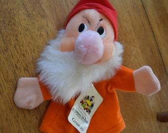 Vintage Disney Snow White and the Seven Dwarfs Grumpy Dwarf 50th Anniversary Hand Puppet Original Tags Soft Plush Toy Doll New