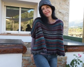 hand knitted poncho / capelet in striped autumn colours