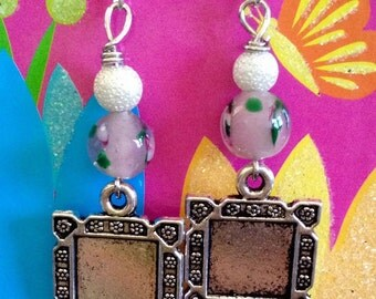 Pink Floral Charm Earrings