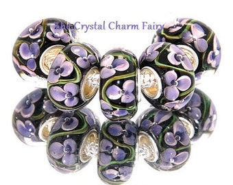 Black with PURPLE VIOLET Flowers LAMPWORK Murano Glass Big Hole European Beads / Fits Pandora and other Large Hole Bracelets / Necklace