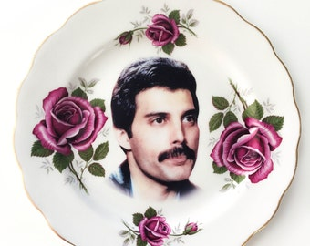 Vintage - Illustrated - Freddie Mercury  - Queen - Plate - Wall Display - Altered Plate - Antique - Upcycled - Art
