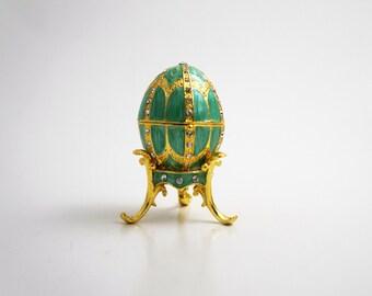 "Faberge Style Egg w/Pendant Trinket Box, 2.5"" Tall (Lt. Green)"