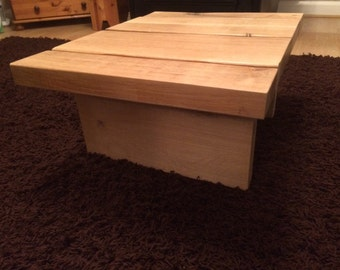 Heavy solid oak coffee table, reclaimed oak beams coffee table