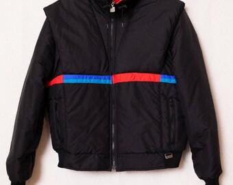 Men's 80's Retro Ski Jacket, White Stag Men's XL Ski Coat Red, Blue and Black Striped Men's Ski Parka, Retro Winter Coat