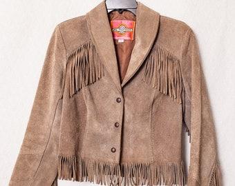 Women's Suede Fringe Leather Jacket, Hippie Western Boho Fringe Suede Jacket, Womens Medium Hippy Fringe Jacket, Ladies Rodeo Fringe Jacket