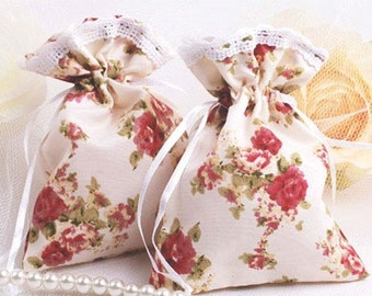 Bag Patil for favors or gifts packaging style liberty shabby satin fabric