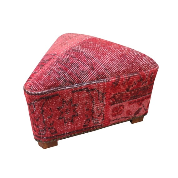 Turkish Rug Covered Ottoman: Triangle Footstool Covered With Vintage Over Dyed Rug