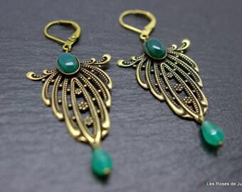 Bronze art deco green agate earrings