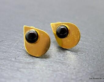 Earrings, black agate