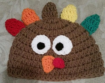 Crocheted Turkey Hat Pattern for Newborn to Adult