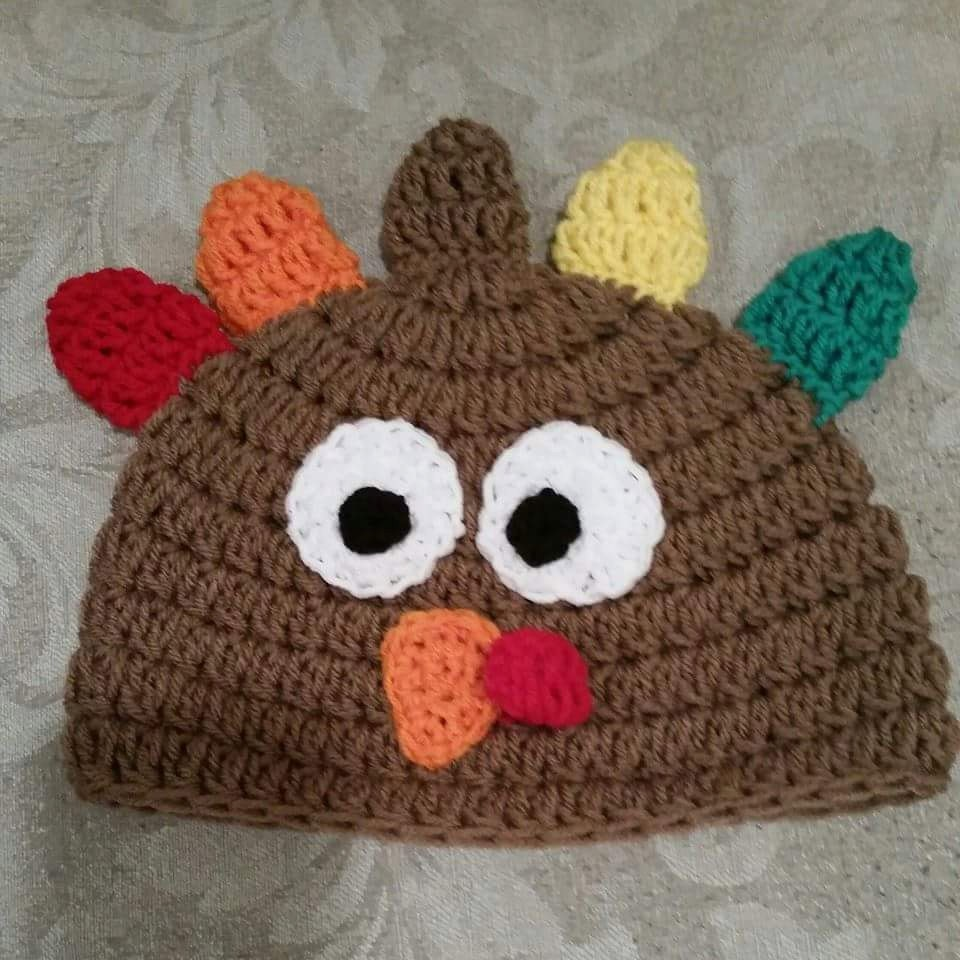 Crochet Turkey Cat Hat Pattern : Crocheted Turkey Hat Pattern for Newborn to Adult