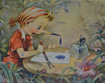 Soviet vintage postcard, A.Tolstoy's fairy tale, Pinocchio, fairy tale Illustration, Soviet Union Vintage Postcard, USSR,1950s