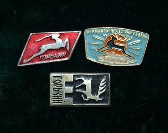 SALE! 3 Children's pins in one listing, Deer, Zoo pins, Fauna pins, Vintage collectible badges, Soviet Vintage Pins, Made in USSR