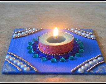 Wooden Kundan Tea Light Candle /Diya Holder ( a set of 2)/Diwali Diya