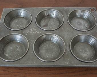 Vintage TALA Made in England Patty Cake-Muffins-Tin-Tray- Kitchenalia