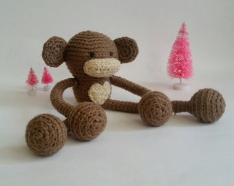 Monkey Amigurumi Lovey. Crochet Monkey Stuffed Animal. Monkey Plushie. Monkey Nursery Decoration