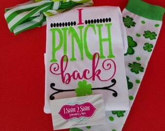 Shirt St. Patrick's day shirt - boy or girl - leg warmers - Headband- I pinch back