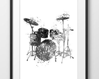 Drum Black and White Print, Drum Watercolor Poster, Music Art Print, Music Wall Art, Music Instrument Poster, Drum Decor, Drum Art (A0277)