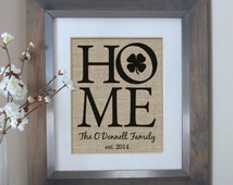 HOME Personalized Burlap Print with Shamrock | Irish Housewarming Gift | Irish Family Name Sign | New Home House Warming Gift