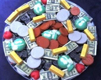 I love Money Gold Bars chocolates candy tray