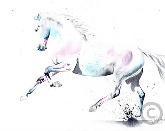 numbered and signed LIMITED EDITON PRINT of my original spanish horse cantering gift art