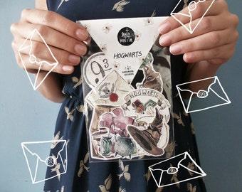 Hogwarts stickers pack, Harry Potter paper goods, gift idea, Dumbledore, collectibles, 9 3/4, Hogwarts school, mandrake, marauders map