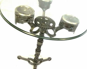 piston table garage car part furniture industrial gift gear head man cave mechanic automotive - Mad Man Furniture
