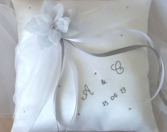 Rhinestone pillow ring bearer embroidered, white (or ivory) and gray