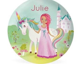 Kids PLATE - Custom Princess and Unicorn Dish for Kids, personalized plate